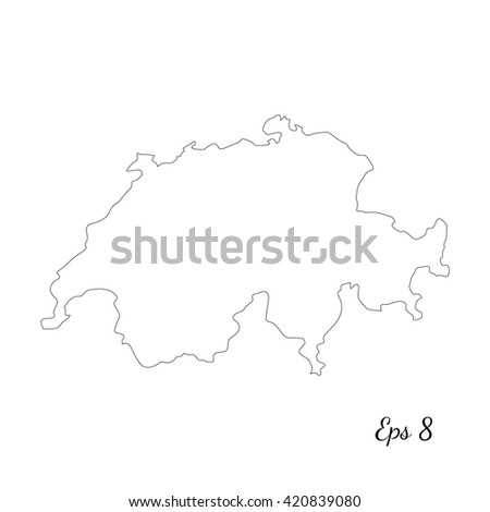vector map switzerland outline map isolated vector illustration black on white background
