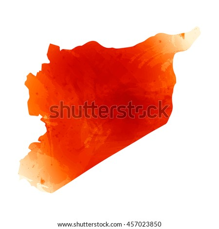 Vector map Syria. Isolated vector Illustration. Orange watercolor effect. EPS 10 Illustration. - stock vector