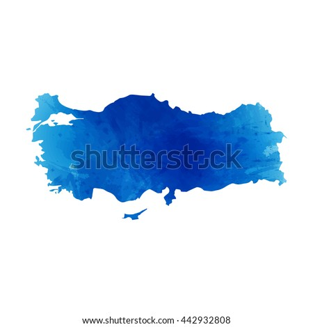 Vector map Turkey. Isolated vector Illustration. Watercolor effect. EPS 10 Illustration.