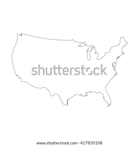 Vector Map United States Outline Map Stock Vector - Us map eps
