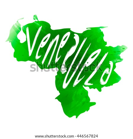 Vector map Venezuela. Isolated vector Illustration. Green watercolor effect. Typography design. EPS 10 Illustration.