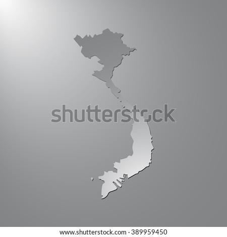 Vector map Vietnam. Gray background with gradient. Isolated vector Illustration. Gray on Gradient background. With shadow. EPS Illustration. - stock vector