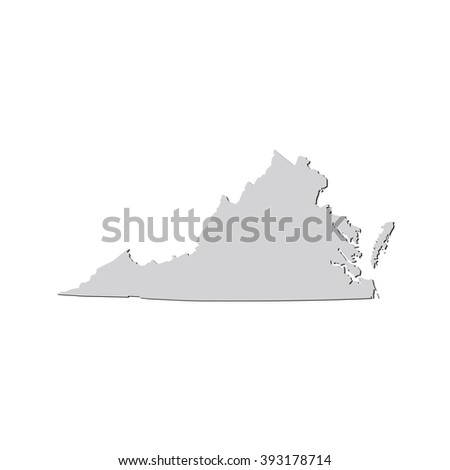 Vector map Virginia. Isolated vector Illustration. Gray on White background. With shadow. EPS 10 Illustration. - stock vector