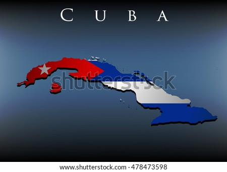 vector map with flag of Cuba, EPS 10