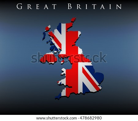 vector map with flag of Great Britain, EPS 10