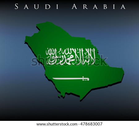 vector map with flag of Saudi Arabia, EPS 10