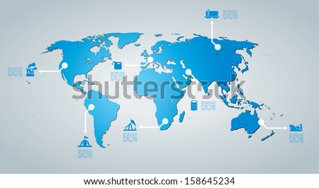 Vector map with infographic elements. - stock vector