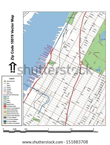 Vector map with summits,rivers, railroads, streets, lakes, parks, airports, stadiums, correctional facilities, military installations and federal lands by zip code 10019 with labels and clean layers. - stock vector