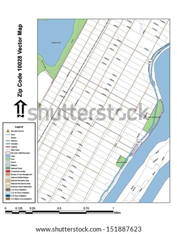 Vector map with summits,rivers, railroads, streets, lakes, parks, airports, stadiums, correctional facilities, military installations and federal lands by zip code 10028 with labels and clean layers.
