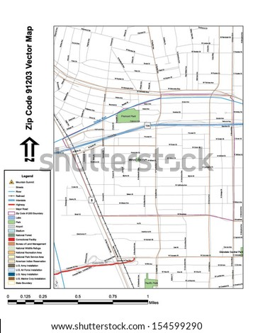 Vector map with summits, rivers, railroads, streets, lakes, parks, airports, stadiums, correctional facilities, military installations and federal lands by zip code 91203 with labels and clean layers. - stock vector