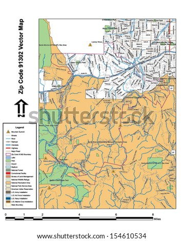 Vector map with summits, rivers, railroads, streets, lakes, parks, airports, stadiums, correctional facilities, military installations and federal lands by zip code 91302 with labels and clean layers. - stock vector
