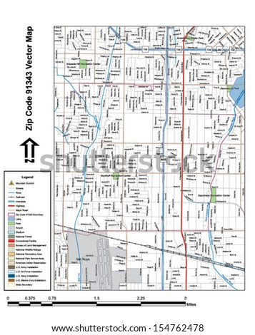 Vector map with summits, rivers, railroads, streets, lakes, parks, airports, stadiums, correctional facilities, military installations and federal lands by zip code 91343 with labels and clean layers. - stock vector