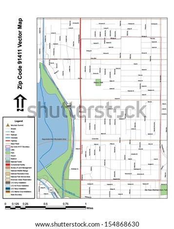 Vector map with summits, rivers, railroads, streets, lakes, parks, airports, stadiums, correctional facilities, military installations and federal lands by zip code 91411 with labels and clean layers. - stock vector