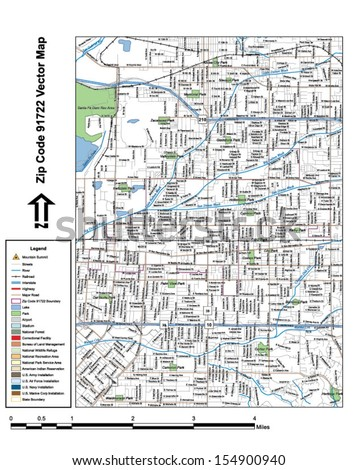 Vector map with summits, rivers, railroads, streets, lakes, parks, airports, stadiums, correctional facilities, military installations and federal lands by zip code 91722 with labels and clean layers. - stock vector