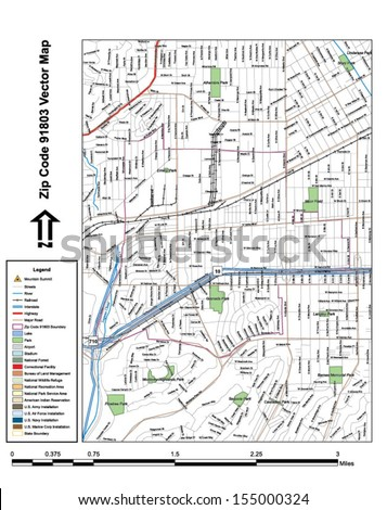 Vector map with summits, rivers, railroads, streets, lakes, parks, airports, stadiums, correctional facilities, military installations and federal lands by zip code 91803 with labels and clean layers. - stock vector