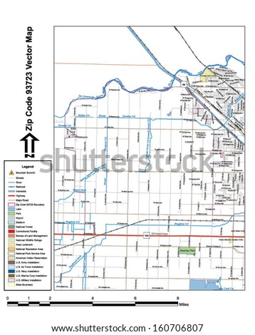Vector map with summits, rivers, railroads, streets, lakes, parks, airports, stadiums, correctional facilities, military installations and federal lands by zip code 93723 with labels and clean layers.