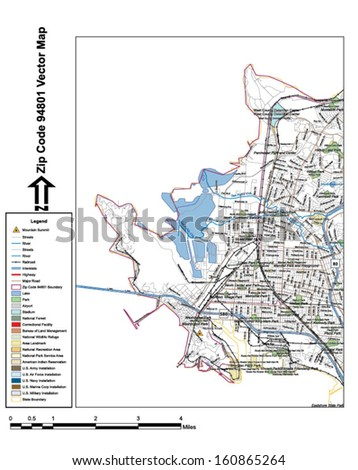 Vector map with summits, rivers, railroads, streets, lakes, parks, airports, stadiums, correctional facilities, military installations and federal lands by zip code 94801 with labels and clean layers. - stock vector