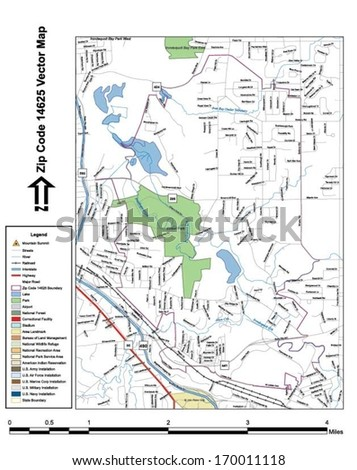 Vector map with summits, rivers, railroads, streets, lakes, parks, airports, stadiums, correctional facilities, military installations and federal lands by zip code 14625 with labels and clean layers.