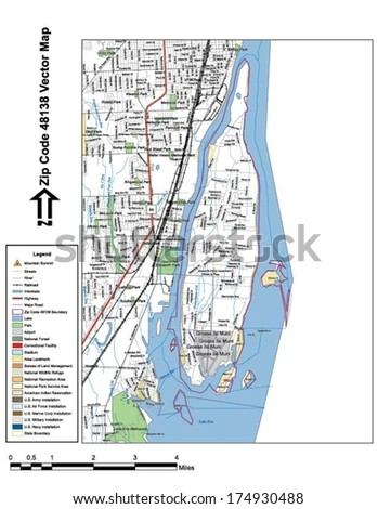 Vector map with summits, rivers, railroads, streets, lakes, parks, airports, stadiums, correctional facilities, military installations and federal lands by zip code 48138 with labels and clean layers. - stock vector