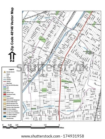 Vector map with summits, rivers, railroads, streets, lakes, parks, airports, stadiums, correctional facilities, military installations and federal lands by zip code 48146 with labels and clean layers. - stock vector
