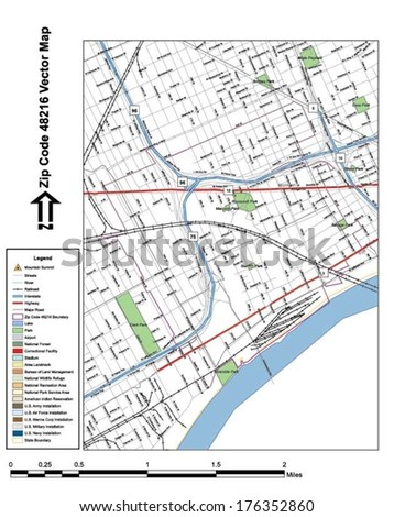 Vector map with summits, rivers, railroads, streets, lakes, parks, airports, stadiums, correctional facilities, military installations and federal lands by zip code 48216 with labels and clean layers. - stock vector
