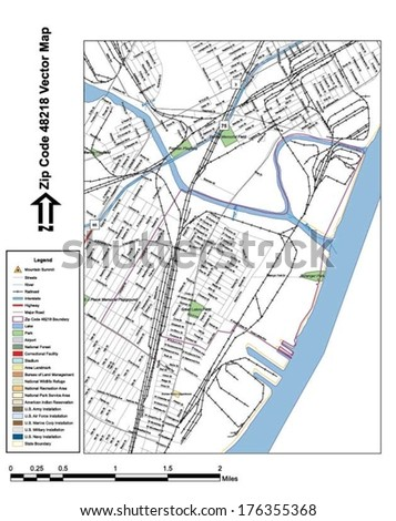 Vector map with summits, rivers, railroads, streets, lakes, parks, airports, stadiums, correctional facilities, military installations and federal lands by zip code 48218 with labels and clean layers. - stock vector