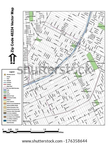 Vector map with summits, rivers, railroads, streets, lakes, parks, airports, stadiums, correctional facilities, military installations and federal lands by zip code 48224 with labels and clean layers. - stock vector