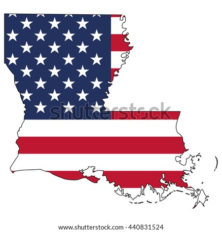 Vector map with US flag inside of Louisiana - stock vector