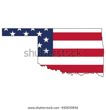 Vector Map Us Flag Inside Oklahoma Stock Vector - Oklahoma on us map