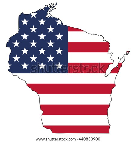 Vector map with US flag inside of Wisconsin