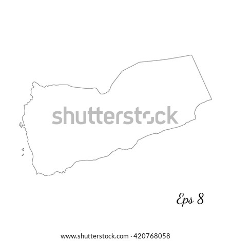 Vector map Yemen. Outline map. Isolated vector Illustration. Black on White background. EPS 8 Illustration. - stock vector