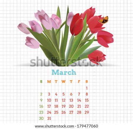 Vector March 2014 printable calendar