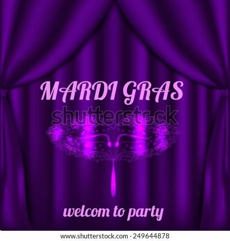 Vector mardi gras illustration with curtain and mask. Invitation to party. - stock vector