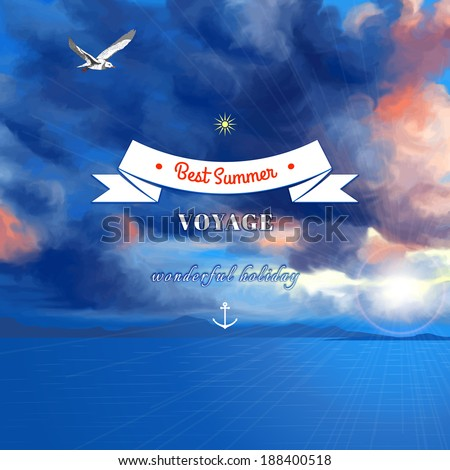 Vector marine background. Overcast sky painted oil pastel. Sun shines through the clouds, flying seagull and sea. Decorative elements, tape, anchor, sun. Place for your text. - stock vector
