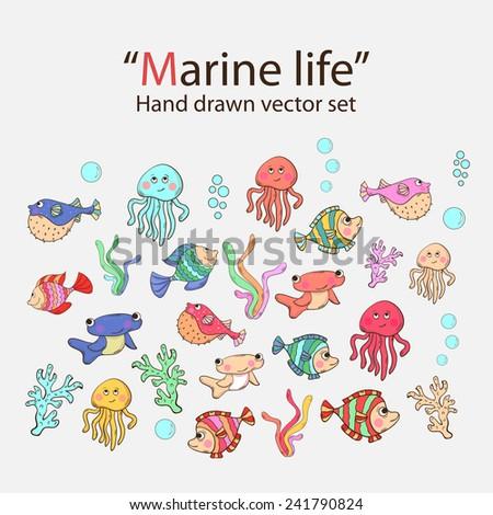 Vector marine life hand drawn set with sea inhabitants, seaweed,sword fish,fish urchin, octopus, jellyfish,coral - stock vector