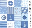 Vector Marine Seamless Pattern. Sea Blue Patchwork - stock vector