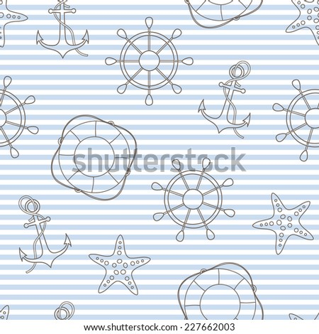 vector marine seamless pattern with anchor, helm, starfish, lifebuoy