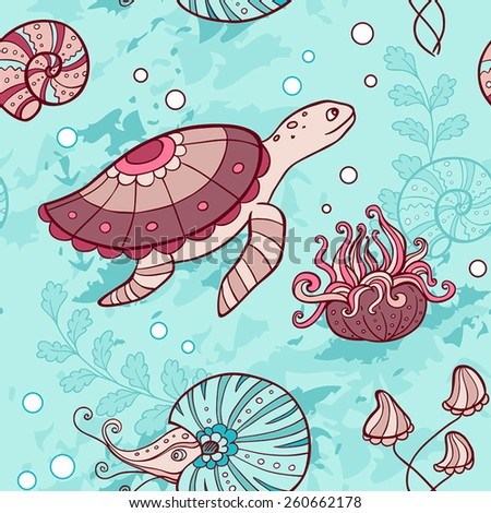 Vector marine seamless pattern with turtle and nautilus - stock vector