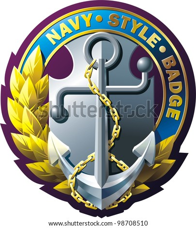 Vector  marine style emblem with anchor, chain, laurel wreath and ribbon