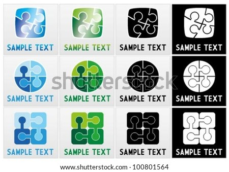 Vector mark collection of jigsaw puzzle pieces with text - stock vector