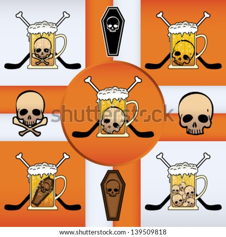 Vector mark collection related to hockey, beer and skulls - stock vector