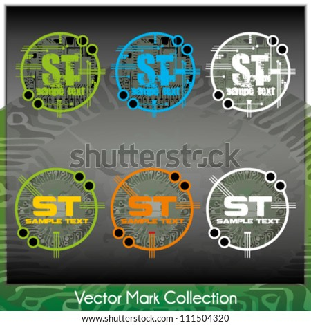 Vector mark collection with circuit/chip/main board elements serving as the symbols background