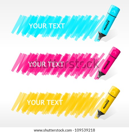 Vector markers text box - stock vector