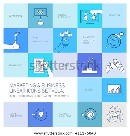 vector marketing and business icons set volume four | flat design linear illustration and infographic isolated on colorful blue background