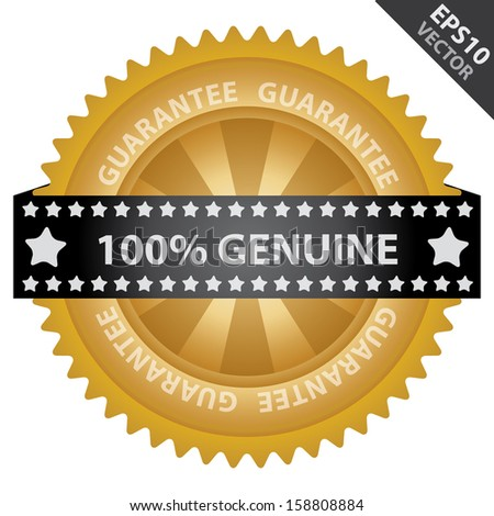 Vector : Marketing Campaign, Promotion or Business Concept Present By Golden Glossy Badge With 100 Percent Genuine Label With Guarantee Text Around Isolated on White Background  - stock vector