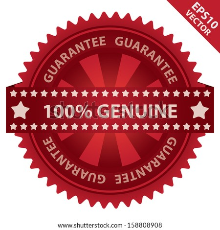 Vector : Marketing Campaign, Promotion or Business Concept Present By Red Glossy Badge With 100 Percent Genuine Label With Guarantee Text Around Isolated on White Background