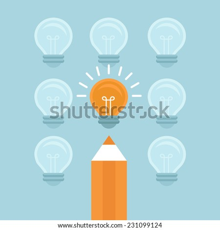 Vector marketing concept in flat style - stand out from the crowd - bright light bulb and pencil - stock vector