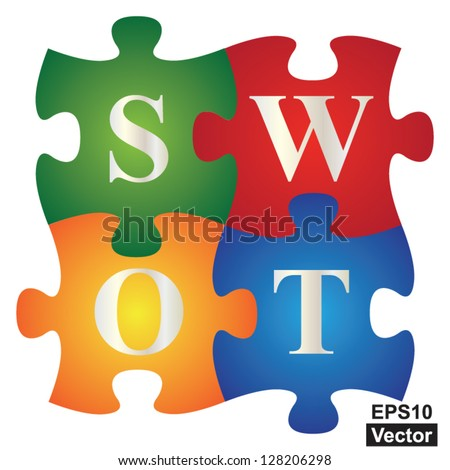 Vector : Marketing or Business Concept Present By Four Pieces of Colorful SWOT Puzzle Isolated on White Background - stock vector