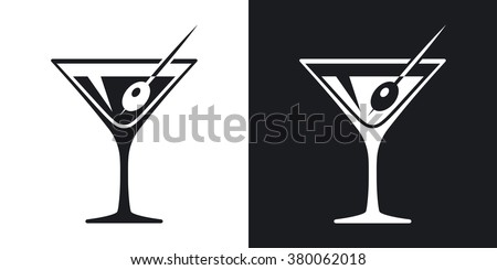 Vector martini glass icon. Two-tone version on black and white background - stock vector