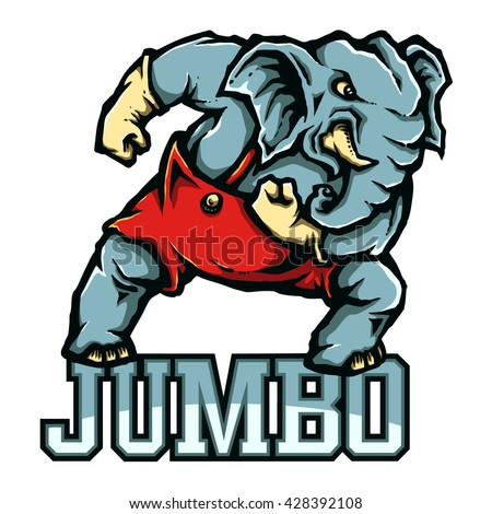 Vector Mascot of Strong Elephant Ready To Fight